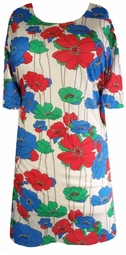 SOLD OUT! CLEARANCE! Fun and Pretty Plus Size Shirt with Red Blue and Green Poppy Floral X-Long T-Shirt 2x 4x 6x