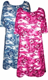 SOLD OUT!!!!!!!!!!! FINAL SALE!! Hot Sunset Pink Tropical Island Plus-Size T-Shirt  0x 1x