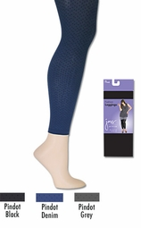 SOLD OUT!!!!!!!!! FINAL SALE! JMS Comfort Top Fashion Legging Plus Size Footless Tights 3x 4x - Pindot Gray / Denim / Black
