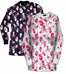 SOLD OUT! Long Sleeve Plus Size Navy Skull Print Graphic T-Shirts XL