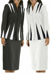 SOLD OUT!!!!!!!!! FINAL SALE!!!! Plus-Sized  White with Black Contrast Color Suit  30wp
