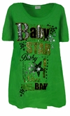 FINAL SALE! Pretty Green Glittery Baby Star Design Plus Size T-Shirts 1X