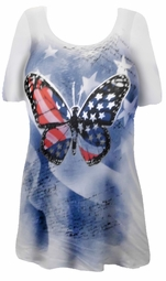 SOLD OUT!!!!!!!!! FINAL SALE!!!! Pretty Red White & Blue with Shiny Silver Butterfly Design Plus Size T-Shirts 1x