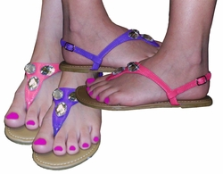 SALE! Pretty Shiny Sparkly Purple or Pink Sandal Flat Shoes Strappy Or With Rhinestones! Size 8.5