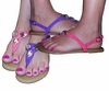 SOLD OUT! Pretty Shiny Sparkly Purple or Pink Sandal Flat Shoes Strappy Or With Rhinestones! Size