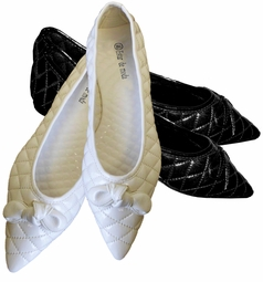 "SOLD OUT!!!!!!!!! FINAL SALE! ""Quilted"" Shoes! Shiny Black or White Pointy Toe Flats / Sizes 8.5"