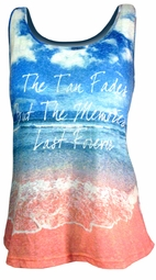 "SOLD OUT!!!!!!!! FINAL SALE! ""The Tan Fades But The Memories Last Forever"" Plus Size Tank Top 2x"