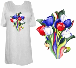 SOLD OUT!!!!!!!!!! FINAL SALE! White - Lime - Gray or Pink Tulip Bouquet Plus Size & Supersize T-Shirts 4xl