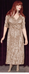 SOLD OUT! Gold Crush Velvet 2pc Sexy Princess Cut Evening Dress! Plus Size 1x Only