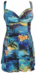 Sold Out!!!! Gorgeous Tropical Paradise Blue Plus Size & Supersize 2 Piece Princess Cut Swimdresses