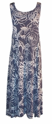 SOLD OUT!!!!!!!!!Gray & White Floral Slinky Plus Size & Supersize Princess Cut Dress 6x