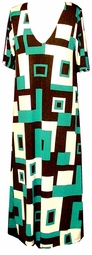 SOLD OUT! Green Black White Geometric Plus Size Slinky Dress, Shirt, or Jacket - Customizable! Lg ot 9x