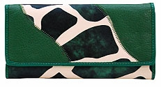 SOLD OUT! Green Giraffee Print Faux Leather Wallet with Checkbook Cover
