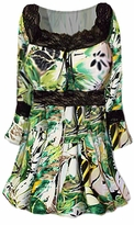 SOLD OUT! Green, Yellow and Black Lace Trim Bell Sleeve Slinky Plus Size Shirts 4x