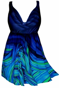 SOLD OUT!!!!!!!!!!!!  Hot Blue & Aqua Plus Size Swim Dress SwimSuit 3x