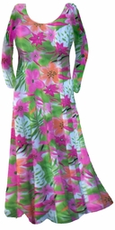 SOLD OUT!!!!!!!!!Hot! Cool Summer Print! Pretty Colorful Floral Slinky Plus Size & Supersize Customizable Dresses, Shirts, Jackets  or Skirts Lg to 8x
