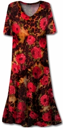SOLD OUT!!!!!! Hot! Red Roses Leopard Slinky Plus Size Supersize Extra Long Dresses