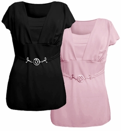 SOLD OUT!!!!!!!!!!!!!!Just Reduced! SALE! Pretty Slinky Black & Lilac Short Sleeve Plus Size Blouses 4x