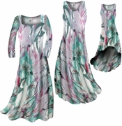 SOLD OUT! CLEARANCE! Lavender Floral Watercolor Print Slinky Plus Size & Supersize A-Line Dresses 0x