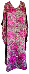 Sold Out! Leopard & Pink Hibiscus Floral Print Poly/Satin Plus Size & Supersize Caftan Dress or Shirt 1x to 6x