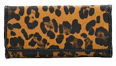 SOLD OUT! Leopard Print Faux Leather Wallet with Checkbook Cover