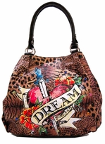 SOLD OUT! Leopard Print Tattoo Heart Dream Forever w/ Rhinestones Faux Leather Purse