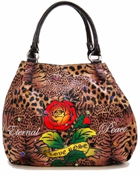 SOLD OUT! Leopard Print Tattoo Love Rose Eternal Peace w/ Rhinestones Faux Leather Purse