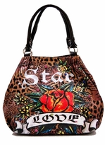 SOLD OUT! Leopard Print Tattoo Rose Star Love w/ Rhinestones Faux Leather Purse