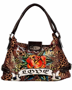 SOLD OUT! Leopard Print Tattoo Star Rose Love w/ Rhinestones Faux Leather Purse