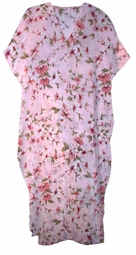 SOLD OUT!!!Light Pink Floral Print Poly Rayon Plus Size & Supersize Caftan Dress 1x to 6x
