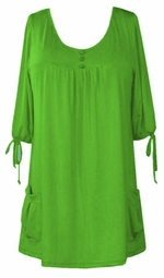SOLD OUT! Lime Green Slinky Pocket Babydoll Tops 6x