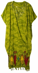 SOLD OUT!!Lime Village Sequined Neckline Rayon Plus Size & Supersize Caftan Dress 1x to 6x