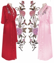SOLD OUT!!!!!!!!!!!!!! Long Pink Rose Embroidered Satin Plus Size Robe