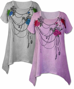 SOLD OUT!!!!!! Lovely Flare Sidetail Plus Size Tunic Tops With Rose Graphic Print and Rhinestones Lavender or Gray