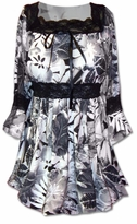 SOLD OUT!!!!!!!!!!Lovely Gray and Black  Lace Trim Bell Sleeve Slinky Plus Size Shirts 5x