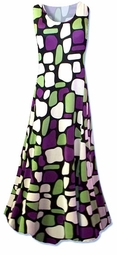 Sold Out!!!Lovely Green and Purple Slinky Plus Size & Supersize Princess Cut Dress 5x