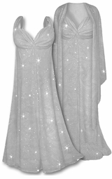 SOLD OUT!!!Lovely Light Gray Glitter 2 Piece Plus Size SuperSize Princess Seam Dress Set  1x