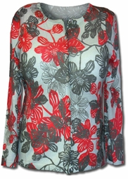 SOLD OUT!  Lovely Red and Beige Floral Print Sweater 1XL