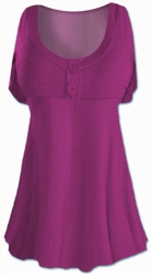 SOLD OUT!!!!!!!!!!!! Magenta Cotton Lycra Mock Button Top Plus Size & Supersize Short Sleeve Shirt
