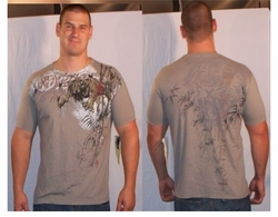 SOLD OUT! Monarchy Light Gray Plus Size T-Shirt Leaping Tiger XL 1x (Unisex)