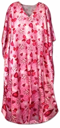 SOLD OUT!!!!!!!!!!!!!!!!New! Beautiful Pink and Red Heart Print Poly/Satin Plus Size & Supersize Caftan Dress 1x to 6x
