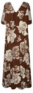 SOLD OUT! New! Beautiful Sepia Brown with Vintage Roses Slinky Plus Size & Supersize Customizable Dresses, Shirts, Pants, Skirts  or Jackets Lg to 9x