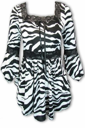 SOLD OUT!!!!NEW! Black and White Tiger Print Lace Trim Bell Sleeve Slinky Plus Size Shirts