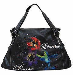 SOLD OUT!!!!New! Black Edith Tattoo Print Eternal Peace w/ Multi Rhinestones Synthetic Leather Purse