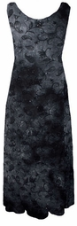 SOLD OUT!!!!New! Black & Grey Tie Dye Paisley Glitter Sheer Crinkle Plus Size & Supersize Princess Cut Tank Dresses