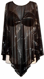 SOLD OUT!!!!!!!!!!NEW! Black & Silver Sheer Glittery Plus Size & Supersize Ponchos!
