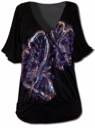 SOLD OUT!!!!New!  Black V-Neck Top With Silver Butterfly Print 0x