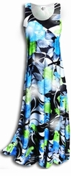 SOLD OUT! SALE! Blue & Black Tropical Floral Shimmer Glimmering Princess Cut Tank Dress 2x