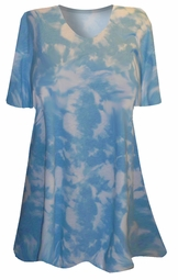 SOLD OUT!!!!!!!!!!! SALE !!!!!!!!!!!! Blue & White Clouds Tiedye Plus Size & Supersize T-Shirts  3x