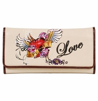 SOLD OUT!!New!  Bone Edith Tattoo Print Flying Heart & Love Synthetic Leather Wallet